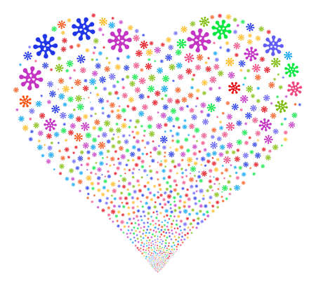 Virus fireworks with heart shape. Vector illustration style is flat bright multicolored iconic symbols on a white background. Object heart organized from random design elements.