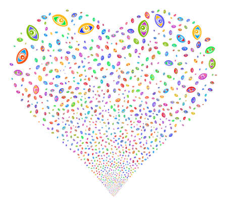Vision fireworks with heart shape. Vector illustration style is flat bright multicolored iconic symbols on a white background. Object heart combined from confetti pictograms.