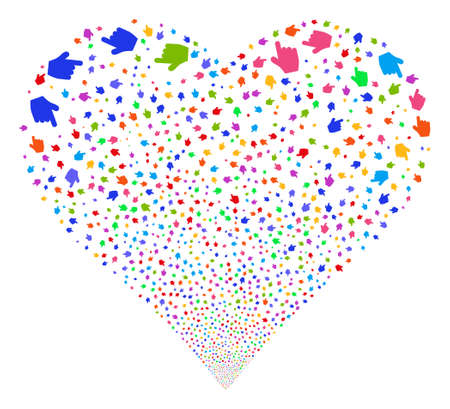 Pointer Finger fireworks with heart shape. Vector illustration style is flat bright multicolored iconic symbols on a white background. Object stream made from scattered symbols. Illustration