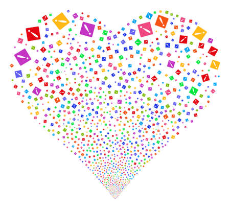 explosion hazard: Problem fireworks with heart shape. Vector illustration style is flat bright multicolored iconic symbols on a white background. Object heart combined from scattered symbols.