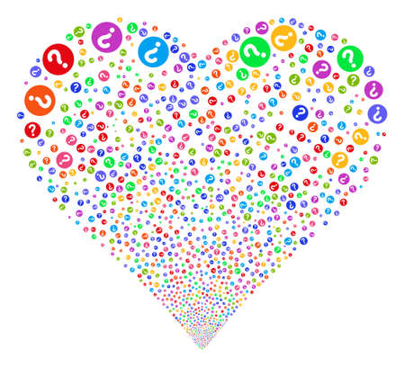 Query fireworks with heart shape. Vector illustration style is flat bright multicolored iconic symbols on a white background. Object stream combined from scattered pictograms. Illustration