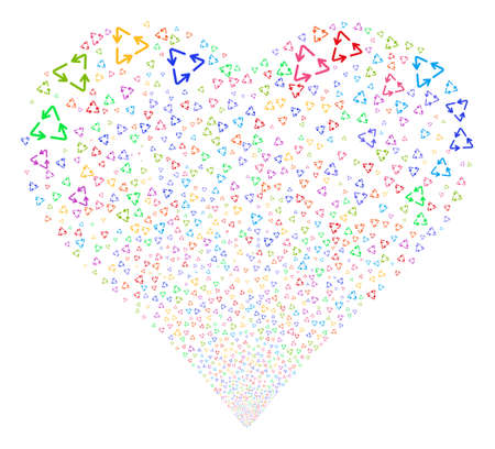 dispose: Recycle Triangle fireworks with heart shape. Vector illustration style is flat bright multicolored iconic symbols on a white background. Object love heart constructed from confetti pictographs.