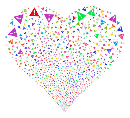 explosion hazard: Warning fireworks with heart shape. Vector illustration style is flat bright multicolored iconic symbols on a white background. Object heart made from scattered symbols.