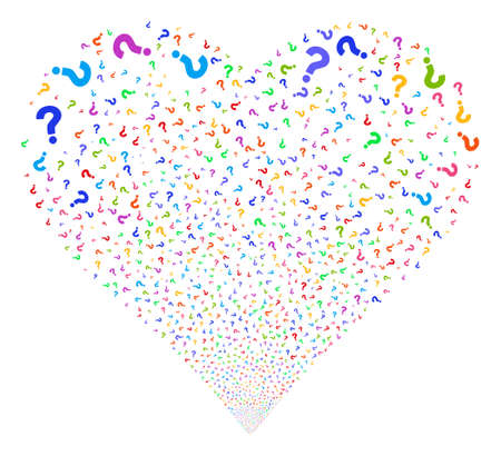 Question fireworks with heart shape. Vector illustration style is flat bright multicolored iconic symbols on a white background. Object love heart combined from confetti symbols.
