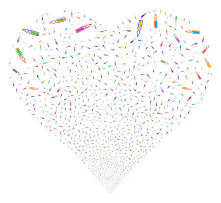 ampoule: Ampoule fireworks with heart shape. Glyph illustration style is flat bright multicolored iconic symbols on a white background. Object heart done from confetti pictograms.