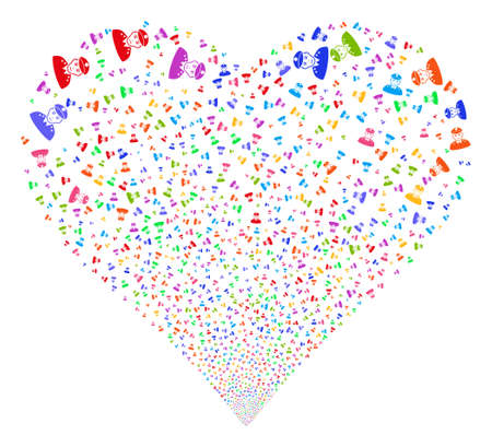 constable: Army General fireworks with heart shape. Glyph illustration style is flat bright multicolored iconic symbols on a white background. Object love heart organized from confetti icons. Stock Photo