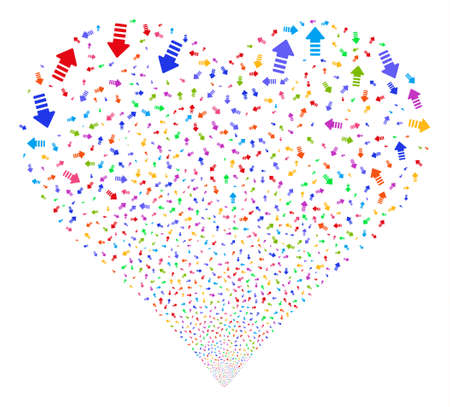Arrow Pointer fireworks with heart shape. Glyph illustration style is flat bright multicolored iconic symbols on a white background. Object salute constructed from scattered design elements. Stock Photo