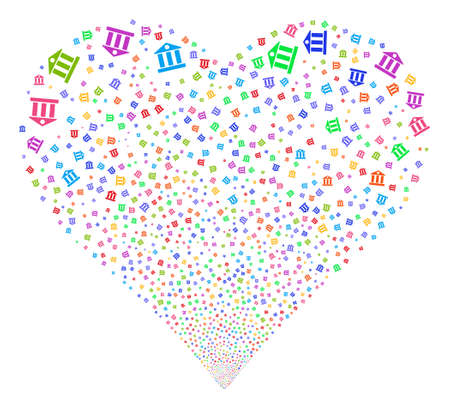 Bank Building fireworks with heart shape. Glyph illustration style is flat bright multicolored iconic symbols on a white background. Object heart created from scattered design elements.