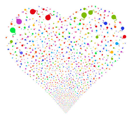 explosion hazard: Bomb fireworks with heart shape. Glyph illustration style is flat bright multicolored iconic symbols on a white background. Object heart organized from scattered pictograms. Stock Photo