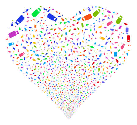 Bottle fireworks with heart shape. Glyph illustration style is flat bright multicolored iconic symbols on a white background. Object valentine heart combined from random pictographs. Stock Photo