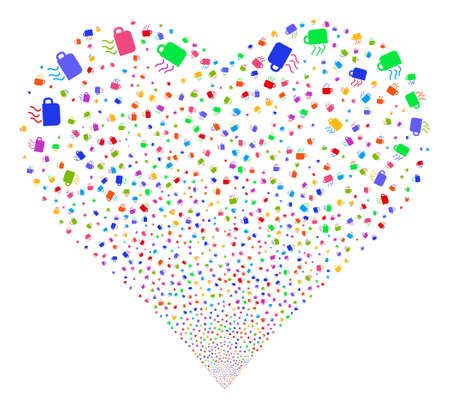 mocca: Coffee Cup fireworks with heart shape. Glyph illustration style is flat bright multicolored iconic symbols on a white background. Object stream done from scattered pictographs.