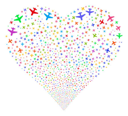 aerial bomb: Airplane fireworks with heart shape. Glyph illustration style is flat bright multicolored iconic symbols on a white background. Object salute created from random symbols.