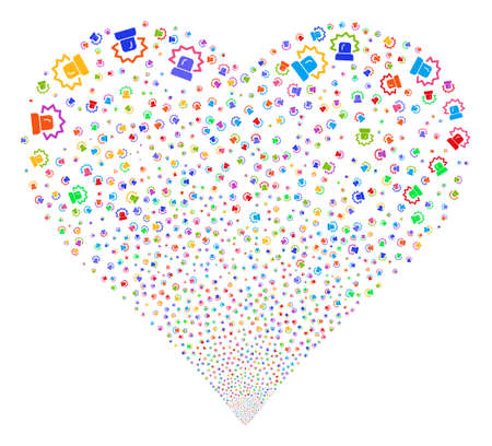 explosion hazard: Alarm fireworks with heart shape. Glyph illustration style is flat bright multicolored iconic symbols on a white background. Object valentine heart done from random icons.