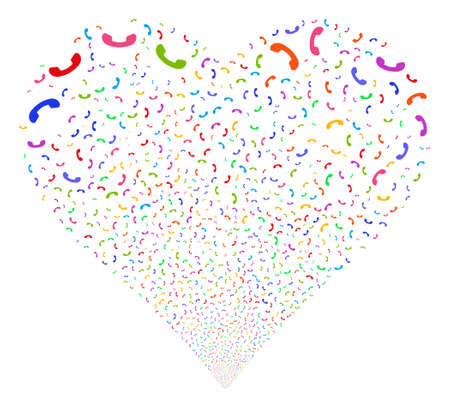 Call fireworks with heart shape. Glyph illustration style is flat bright multicolored iconic symbols on a white background. Object stream created from random icons.