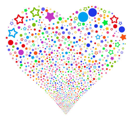 Confetti Stars fireworks with heart shape. Glyph illustration style is flat bright multicolored iconic symbols on a white background. Object love heart constructed from confetti design elements.