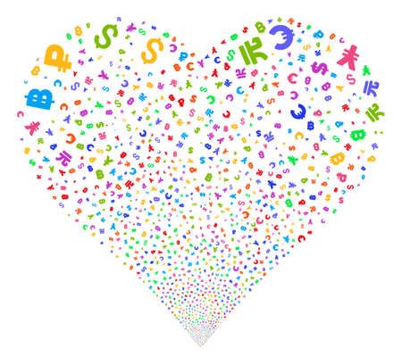 Currency Symbols fireworks with heart shape. Glyph illustration style is flat bright multicolored iconic symbols on a white background. Object stream created from confetti pictographs.