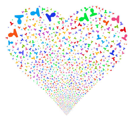 Customer fireworks with heart shape. Glyph illustration style is flat bright multicolored iconic symbols on a white background. Object stream combined from scattered symbols. Фото со стока