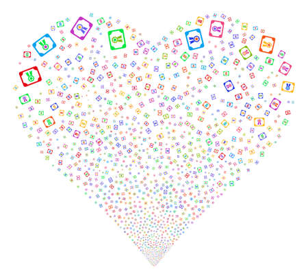 attest: Diploma fireworks with heart shape. Glyph illustration style is flat bright multicolored iconic symbols on a white background. Object stream combined from scattered symbols.