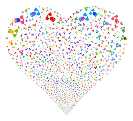 Doctor fireworks with heart shape. Glyph illustration style is flat bright multicolored iconic symbols on a white background. Object valentine heart combined from scattered icons.