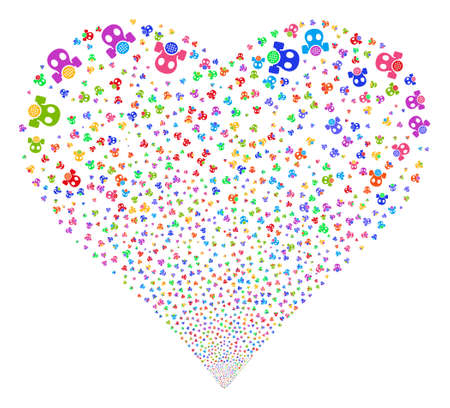 Gas Mask fireworks with heart shape. Glyph illustration style is flat bright multicolored iconic symbols on a white background. Object heart created from scattered icons.