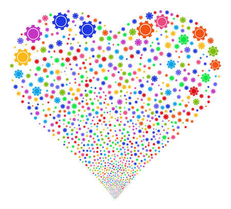 Gear fireworks with heart shape. Glyph illustration style is flat bright multicolored iconic symbols on a white background. Object love heart constructed from scattered pictographs.
