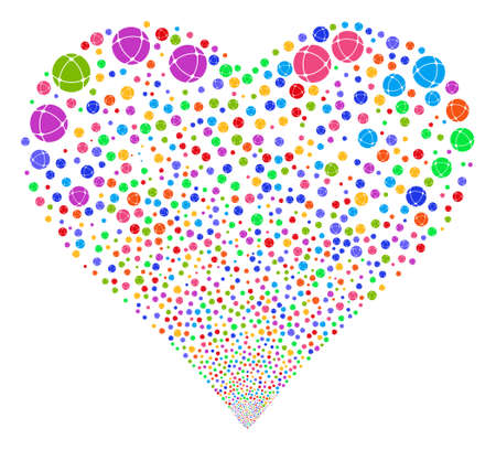 Internet fireworks with heart shape. Glyph illustration style is flat bright multicolored iconic symbols on a white background. Object love heart combined from confetti pictographs.