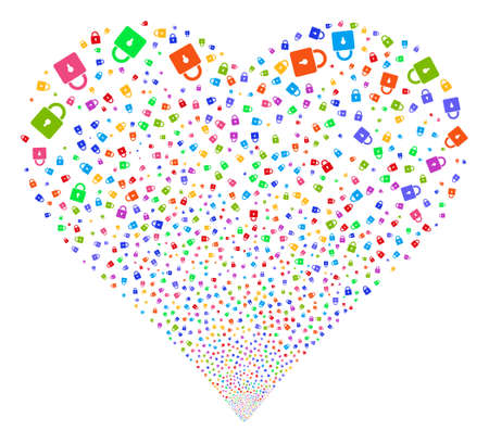 registry: Lock fireworks with heart shape. Glyph illustration style is flat bright multicolored iconic symbols on a white background. Object heart combined from random symbols.