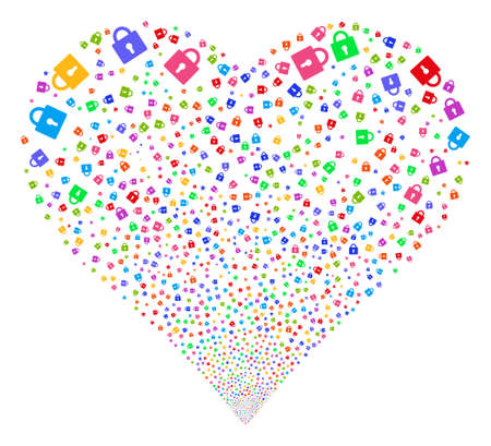 Lock fireworks with heart shape. Glyph illustration style is flat bright multicolored iconic symbols on a white background. Object heart done from random symbols.