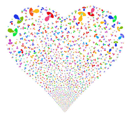 Manager fireworks with heart shape. Glyph illustration style is flat bright multicolored iconic symbols on a white background. Object heart created from scattered design elements.