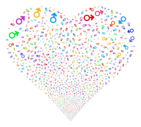 Mars Symbol fireworks with heart shape. Glyph illustration style is flat bright multicolored iconic symbols on a white background. Object valentine heart organized from random pictograms. Stock Photo