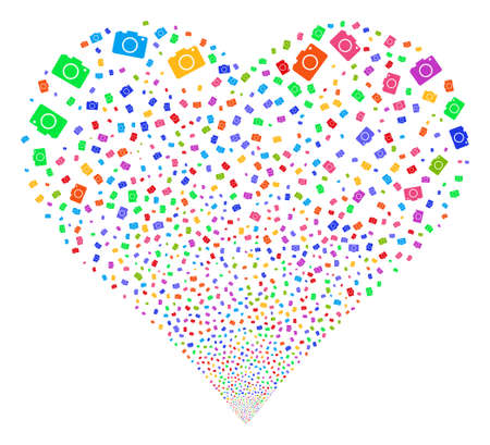 Photo Camera fireworks with heart shape. Glyph illustration style is flat bright multicolored iconic symbols on a white background. Object valentine heart constructed from scattered pictographs.