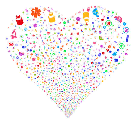 Medical Symbols fireworks with heart shape. Glyph illustration style is flat bright multicolored iconic symbols on a white background. Object stream created from confetti design elements. Stock Photo