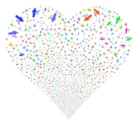 Medic fireworks with heart shape. Glyph illustration style is flat bright multicolored iconic symbols on a white background. Object stream done from scattered pictograms.