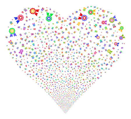 approval rate: Quality fireworks with heart shape. Glyph illustration style is flat bright multicolored iconic symbols on a white background. Object valentine heart combined from random pictograms. Stock Photo