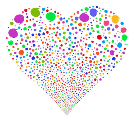 borne fontaine: Quote fireworks with heart shape. Glyph illustration style is flat bright multicolored iconic symbols on a white background. Object salute constructed from random pictograms.