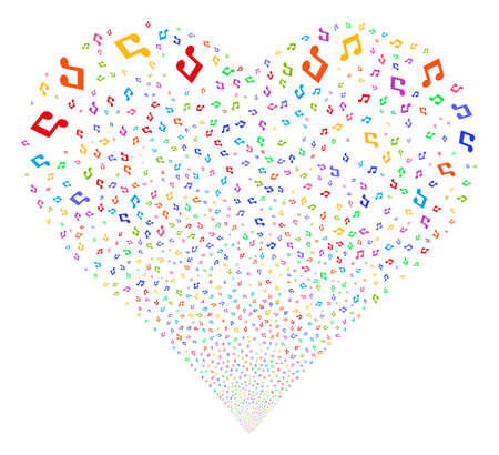 Music fireworks with heart shape. Glyph illustration style is flat bright multicolored iconic symbols on a white background. Object valentine heart constructed from confetti symbols.