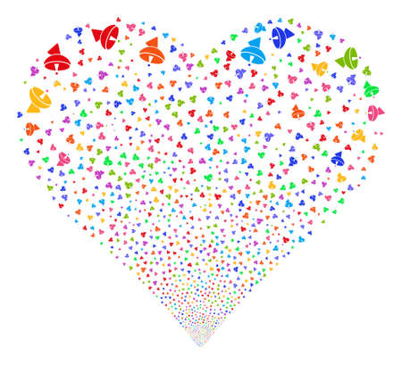 Radio Telescope fireworks with heart shape. Glyph illustration style is flat bright multicolored iconic symbols on a white background. Object love heart created from random icons.