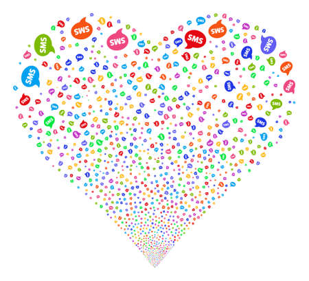 borne fontaine: SMS fireworks with heart shape. Glyph illustration style is flat bright multicolored iconic symbols on a white background. Object salute done from confetti symbols. Banque d'images