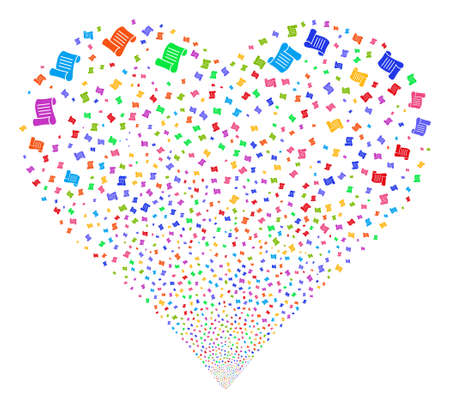 Script Roll fireworks with heart shape. Glyph illustration style is flat bright multicolored iconic symbols on a white background. Object love heart organized from confetti pictograms.