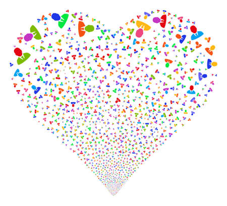 Manager fireworks with heart shape. Glyph illustration style is flat bright multicolored iconic symbols on a white background. Object salute constructed from confetti pictographs. Stock Photo