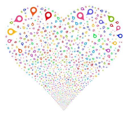 position d amour: Map Marker fireworks with heart shape. Glyph illustration style is flat bright multicolored iconic symbols on a white background. Object valentine heart made from random icons.