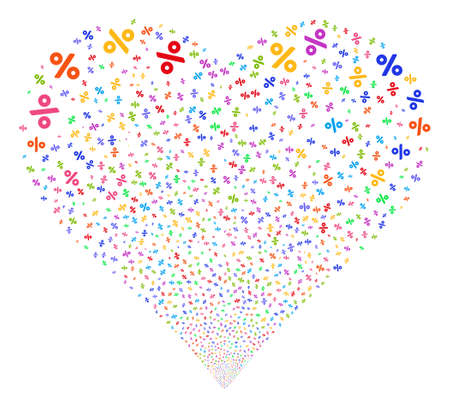 Percent fireworks with heart shape. Glyph illustration style is flat bright multicolored iconic symbols on a white background. Object valentine heart made from scattered icons.