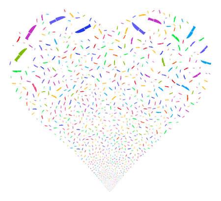 Fuegos artificiales de cuchillo de cirugía con forma de corazón. El estilo de la ilustración de Glyph es símbolos icónicos multicolores brillantes planos en un fondo blanco. Objeto corazón combinado de pictogramas dispersos. Foto de archivo