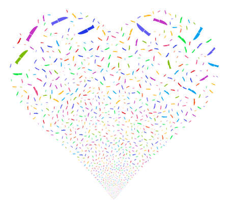 Surgery Knife fireworks with heart shape. Glyph illustration style is flat bright multicolored iconic symbols on a white background. Object heart combined from scattered pictograms.