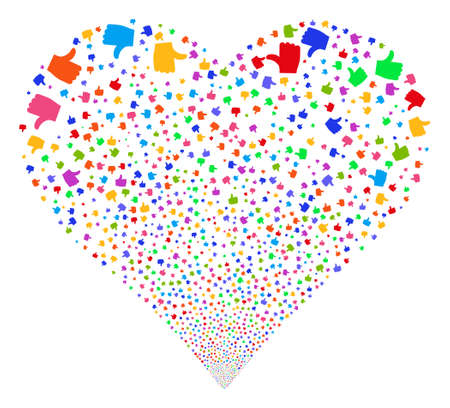 igniting: Thumb Up fireworks with heart shape. Glyph illustration style is flat bright multicolored iconic symbols on a white background. Object love heart constructed from confetti icons.