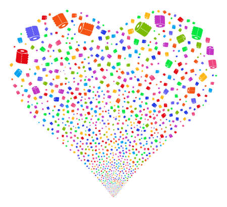 Toilet Paper Roll fireworks with heart shape. Glyph illustration style is flat bright multicolored iconic symbols on a white background. Object valentine heart organized from random symbols. Standard-Bild