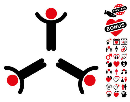 Hands Up Men pictograph with bonus romantic pictures. Vector illustration style is flat rounded iconic intensive red and black symbols on white background.