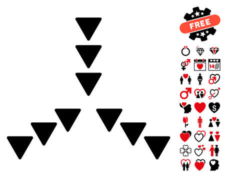 squeeze shape: Inside Direction pictograph with bonus lovely design elements. Vector illustration style is flat rounded iconic intensive red and black symbols on white background. Illustration
