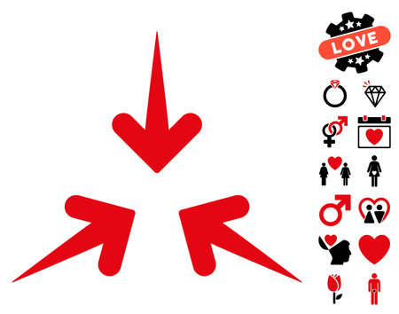 Impact Arrows pictograph with bonus lovely symbols. Vector illustration style is flat rounded iconic intensive red and black symbols on white background. Illustration