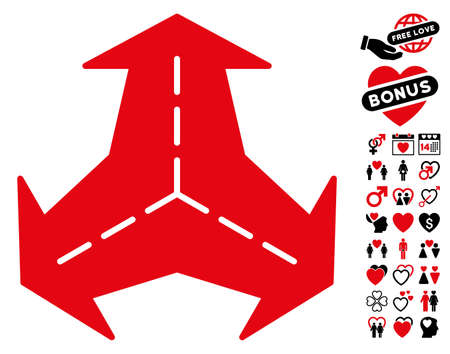 Intersection Directions pictograph with bonus amour design elements. Vector illustration style is flat rounded iconic intensive red and black symbols on white background. Illustration